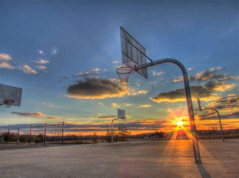 basketball sport sports basketball court sunset