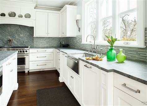 White Cabinets Countertop What Color Backsplash by Grey Backsplash With White Kitchen Cabinet And