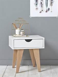 Table De Chevet Blanc Et Bois : table de chevet maison vetement et d co cyrillus ~ Teatrodelosmanantiales.com Idées de Décoration