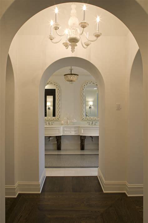 wood floor patterns Bathroom Mediterranean with arch