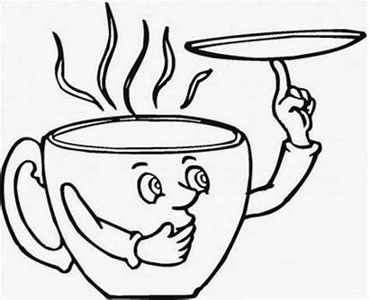 Cup Coffee Coloring Pages Printable Drawing Saucer