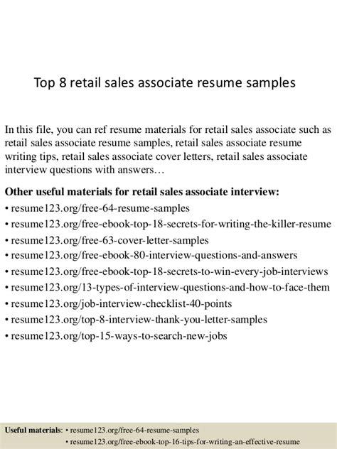 top 8 retail sales associate resume sles