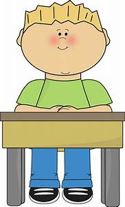 Student Sitting at School Desk Card Clip Art Student