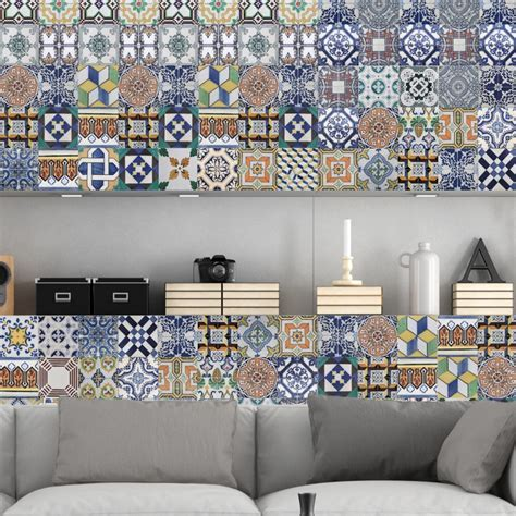 Portuguese Tiles Stickers Amadora   Pack of 36 tiles