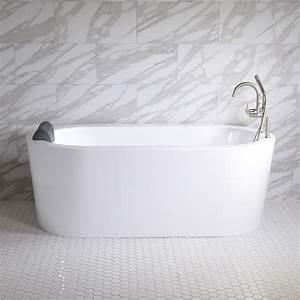 Sansiro Augusta 59 U0026quot  End Drain Acrylic Freestanding Soaker Tub