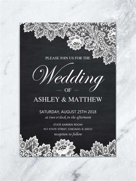printable lace wedding invitation black and white invite