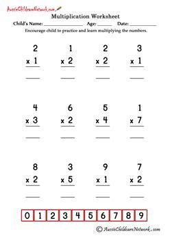 Single Digit Simple Multiplication Worksheets  Aussie Childcare Network