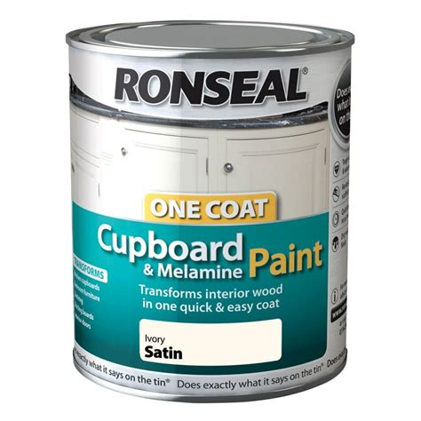ronseal coat cupboard paint ivory satin ml