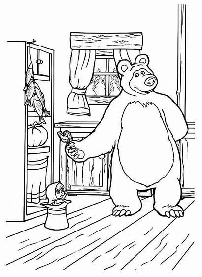 Masha Bear Coloring Pages Candy Drawing Bring