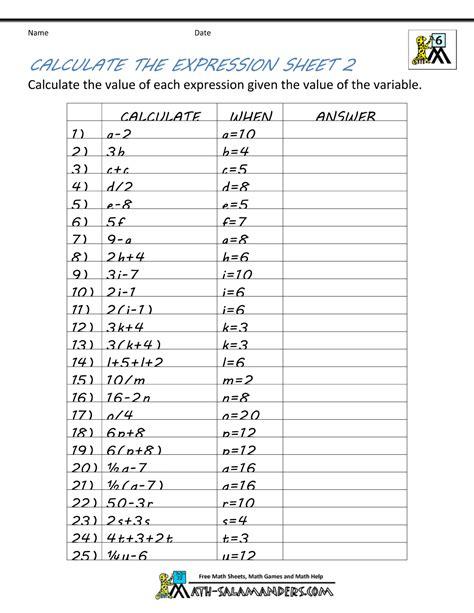 grade algebra worksheet algebra alistairtheoptimist
