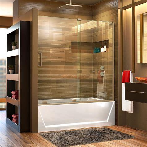 sliding glass shower doors for bathtubs dreamline mirage x 56 in to 60 in x 58 in semi