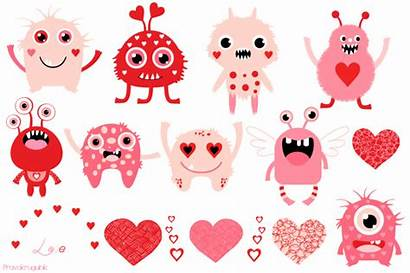 Valentine Clip Clipart Monster Monsters Pink Graphics