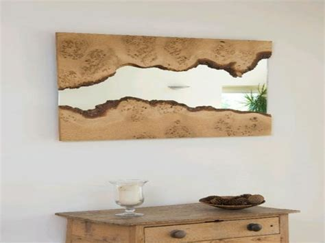 Unusual wall mirrors, natural wood mirror frame large wood