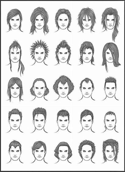 Hair Hairstyles Drawing Draw Mens Reference Different