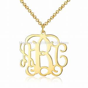Custom made 125quot monogram initial name gold necklace for Custom letter necklace gold