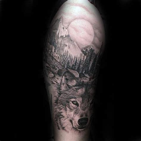 realistic wolf tattoo designs  men canine ink ideas