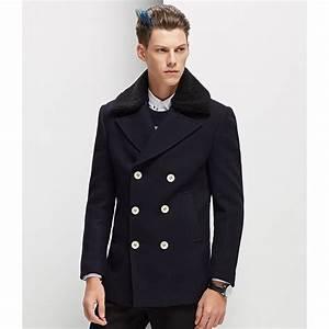 Manteau Homme Avec Fourrure : manteau double boutonnage homme avec col fourrure lapin ~ Melissatoandfro.com Idées de Décoration