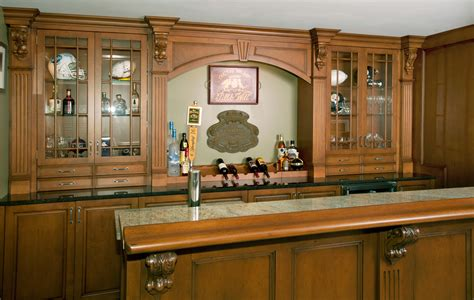 irish pub home bar custom cabinetry  ken leech