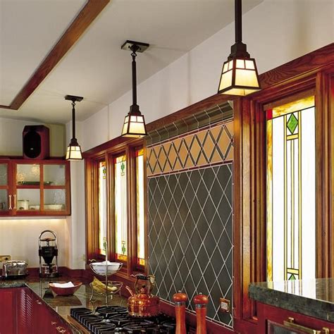 arts crafts style kitchen lit with green