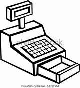 Cash Register Machine Cashier Vector Shutterstock Illustration Lightbox Illustrations sketch template