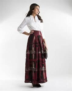 jupe longue a jacquard carreaux rouge femme roberto verino With jupe carreaux rouge