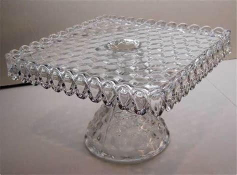 square fostoria american crystal clear glass pedestal cake