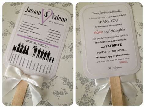 my diy bridal party silhouette program paddle fans
