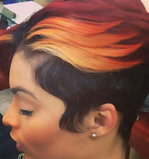 ombre orange  burgundy dyed sassy short haircut urban