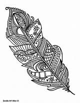 Coloring Peacock Feathers Feather Printable Adult Colouring Doodle Adults Colour Simple Tattoo Doodles Zentangle Colorful Pattern Cool Awesome Patterns sketch template