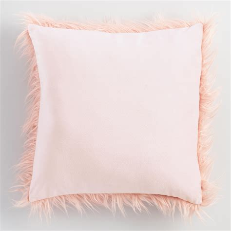blush throw pillows blush mongolian faux fur throw pillow pink 18 quot square