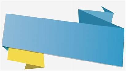 Title Ribbon Box Vector Origami Transprent Transparent