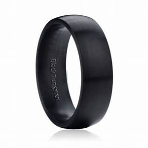 wide dome matte black tungsten 8mm mens womens With matte wedding ring mens