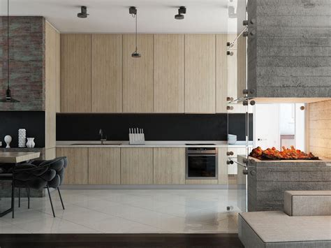 chimney in kitchen design 3 modern homes with amazing fireplaces and creative lighting 5394