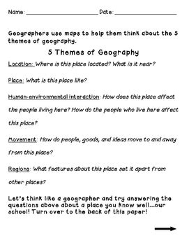the 5 themes of geography worksheet by shana keane tpt