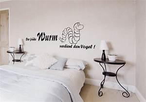 Wandtattoo Für Schlafzimmer : der fr he wurm verdient den vogel lustiges wandtattoo f r k che badezimmer und schlafzimmer ~ Buech-reservation.com Haus und Dekorationen