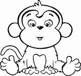 Coloring Pages Monkeys Cute Hard Easy Activity sketch template