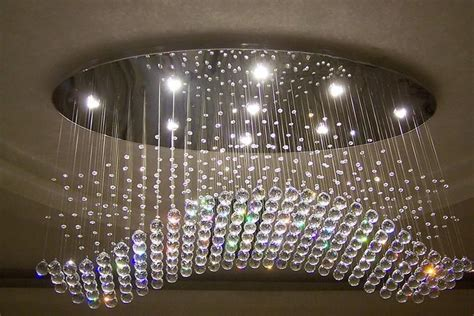 Oval Curtain Wave Modern Chandeliers Crystal Lamp Living