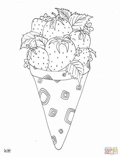 Ice Cream Coloring Strawberry Pages Drawing Printable