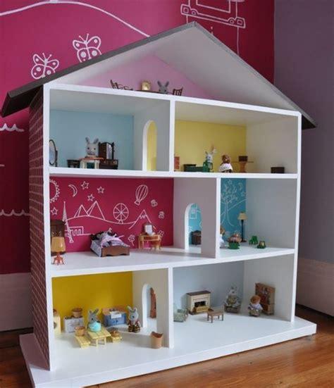 Wandgestaltung Kinderzimmer Häuser puppenhaus selber bauen einfach idee bunt wandgestaltung