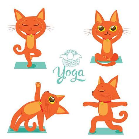 cat yoga illustrations royalty  vector graphics