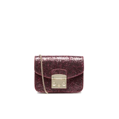furla s metropolis mini glitter cross bag rubino