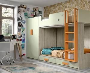 Chambre enfant composee dun lit superpose et dune for Robe de chambre enfant avec deux matelas superposés