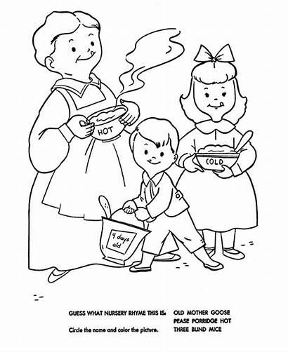 Coloring Porridge Nursery Rhymes Pease Pages Goose