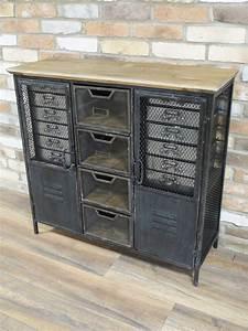 meuble multi rangement en metal grillage industriel With meuble bas de cuisine 120 cm 9 meubles de rangement industriel metal bois