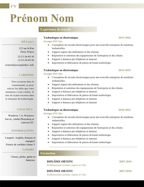 Des Exemples De Cv Word by Mod 232 Les De Cv Word 879 224 885 Exemple De Cv Info