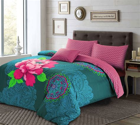 Bohemian Coverlet by Janice Floral Duvet Quilt Cover Pillowcases Set Teal