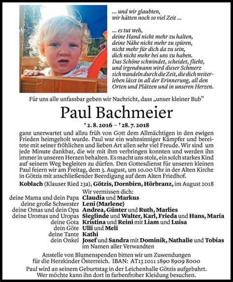 Paul Bachmeier - Todesanzeige - VN Todesanzeigen
