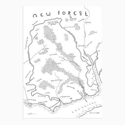 forest national park map print mapsy