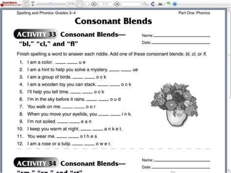 consonant blends bl cl and fl worksheet for 2nd 3rd