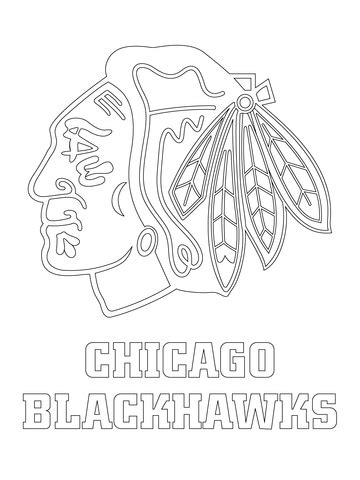 chicago blackhawks logo coloring page  printable